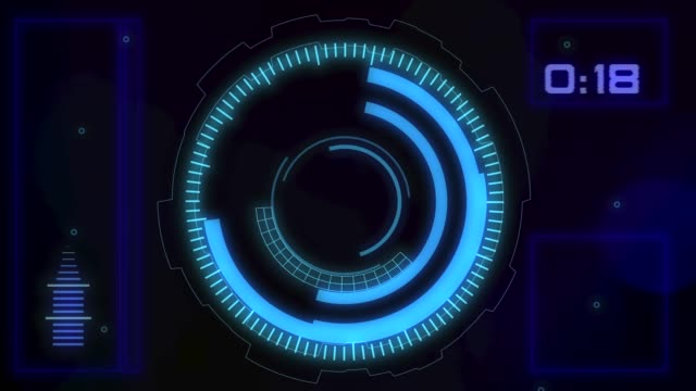 Futuristic HUD graphic interface High Tech HUD user interface with spinning circles, countdown timer, spinning wireframe sphere and audio meter timer stock videos & royalty-free footage