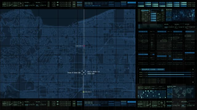 Futuristic HUD Holographic Digital City Map Futuristic motion graphic user interface head up display screen with digital data city map telemetry information display for digital background computer desktop display screen hud graphical user interface stock videos & royalty-free footage