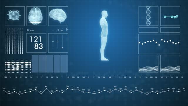 vídeos de stock, filmes e b-roll de dados futuristas da tela de medicina hud em vídeo 4k. - estrutura física