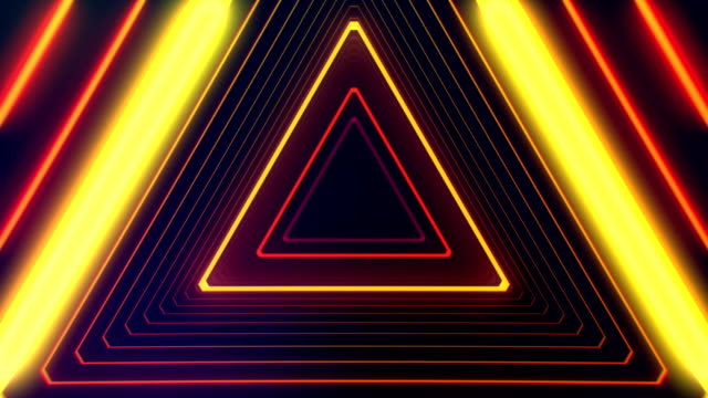 Futuristic HUD triangle tunnel seamless VJ loop. 4K Neon motion graphics for LED