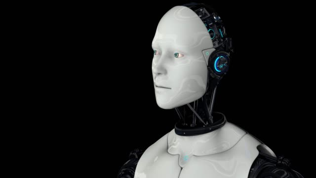 Futuristic humanoid robot is activated, moves its head, eyes and scans the environment. The camera approaches the robot. On a black background. Artificial intelligence. 4K. 3D animation.