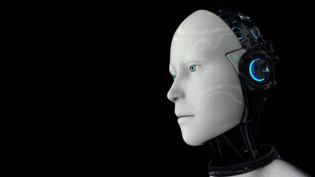 Futuristic humanoid robot turns on and raises its head. The camera takes a medium shot. On a black background. 4K. 3D animation.