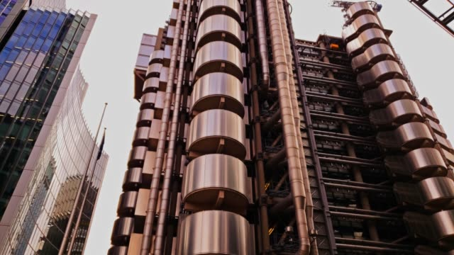 futuristic industrial metallic complex buildings 4k - concrete architecture stock videos & royalty-free footage