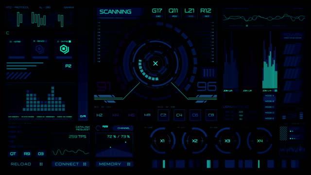 futuristik bir arayüze | hud | dijital ekran - dijital montaj stok videoları ve detay görüntü çekimi