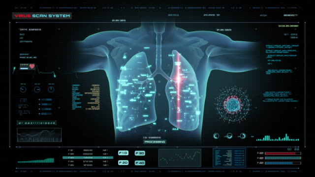 HUD Futuristic Medical Concept of the virus Scan HUD Futuristic Medical Concept of the virus Scan lung stock videos & royalty-free footage