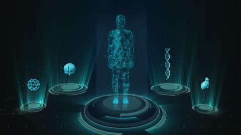 vídeos y material grabado en eventos de stock de interfaz de usuario médica futurista con hud y elementos infográficos. antecedentes de tecnología virtual - parte del cuerpo humano