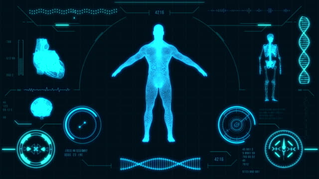 futuristic medical user interface with hud and infographic elements. virtual technology background. - radiografia video stock e b–roll