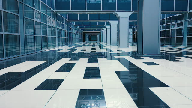 Futuristic modern office building interior in urban city, empty hall of office interior business center, forward dolly shot