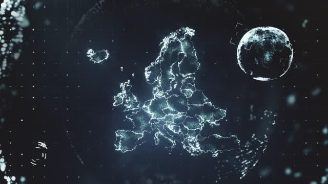 futuristiska rörelse grafik av europakartan - sweden map bildbanksvideor och videomaterial från bakom kulisserna