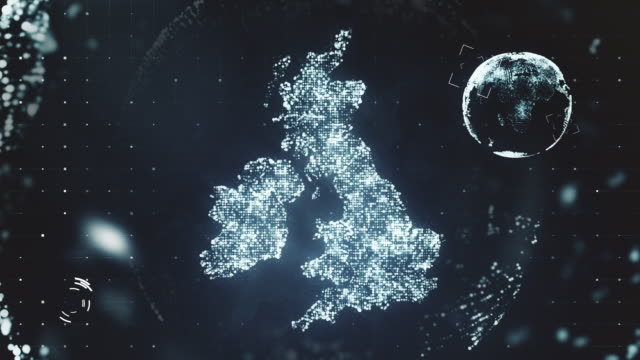 Futuristic Motion Graphics of the United Kingdom Futuristic motion graphics design displaying United Kingdom made of particles and glowing lights. Computer generated video in 4K resolution. uk map stock videos & royalty-free footage