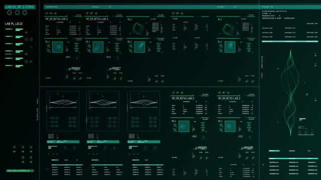 vídeos y material grabado en eventos de stock de panel futurista de gadgets multipantalla - coordinación