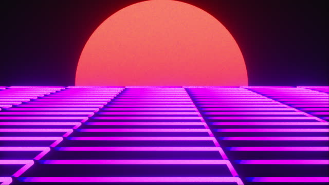 Futuristic neon landscape of the 80 s. Computer generated futuristic sun in retro style. 3D rendering abstract background