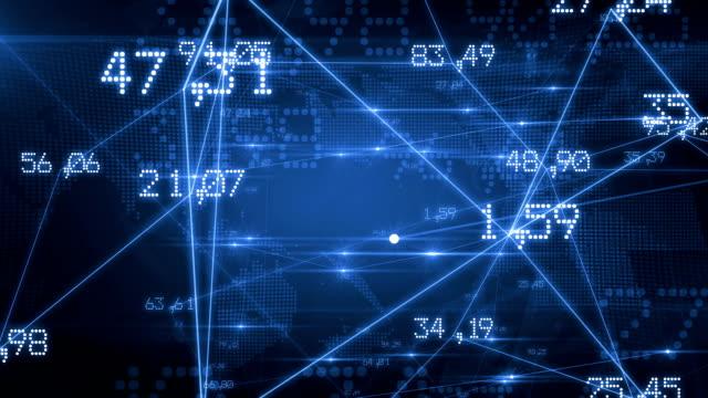 futuristica rete con numeri e linee. sfondo blu. passanti e. hd 1080. - numero video stock e b–roll