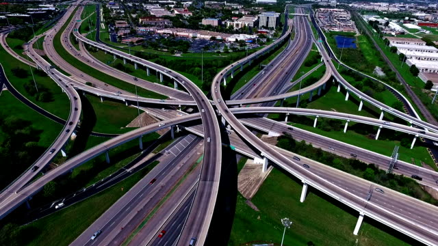 Futuristic Over Pass Highway Interchange Overpass Fly Over Aerial Transportation in Austin , TX video