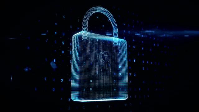 Futuristic padlock against digitally generated background video