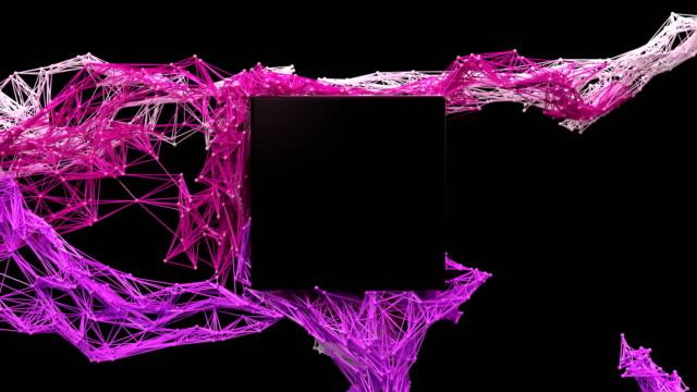 未來的粒子網/方形標識顯示。 - 商標 個影片檔及 b 捲影像