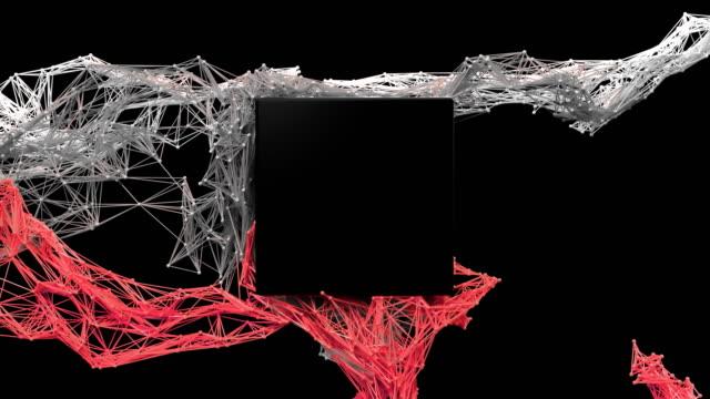 futuristiska partikel mesh / square logotyp avslöja. - logotyp bildbanksvideor och videomaterial från bakom kulisserna