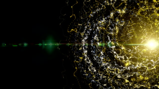 Futuristic particle stripe object and light in slow motion, loop HD video