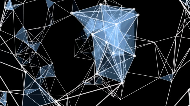 Futuristic plexus animation with glowing triangles in slow motion, loop HD 1080p video