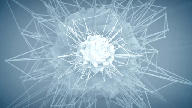 Futuristic polygonal core shape. 3d render animation loop video