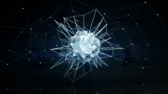 Futuristic polygonal network shape. Abstract 3d render animation loop video