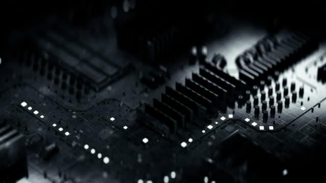 Futuristic printed circuit board seamless loop 3D render animation