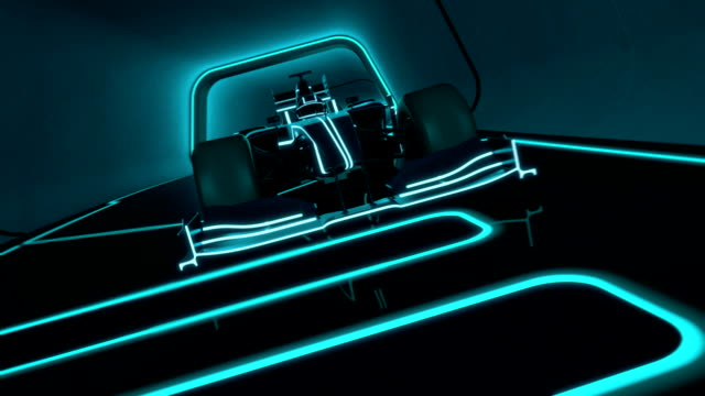 futuristic racecar in a tunnel with glowing neon lines single-seater auto racing racecar speeding along a futuristic tunnel with neon light lines in tron look - high quality 3d animation - loopable video game stock videos & royalty-free footage