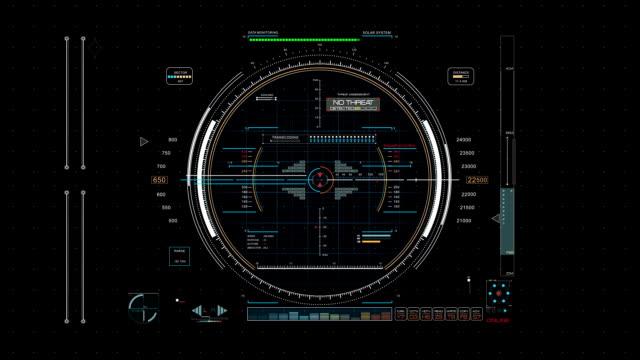 Futuristic radar system screen panel - Hud stock video