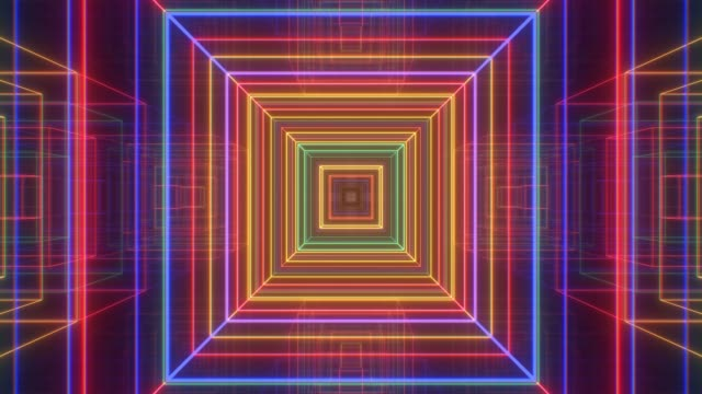 Futuristic Rainbow Neon Glow Square Tunnel of Electric Laser Beams - 4K Seamless Loop Motion Background Animation