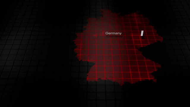 Futuristic Red digital ominous map of Germany