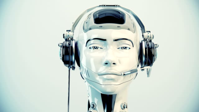 Futuristic robot girl with speakers Cute smiling girl in call center with matte element cyborg stock videos & royalty-free footage