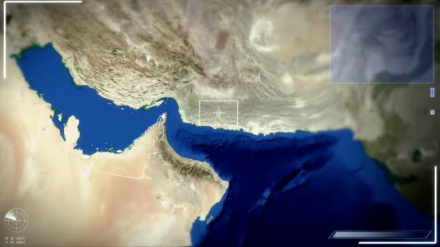 stockvideo's en b-roll-footage met futuristic satellite image view of abu dhabi - perzische golfstaten