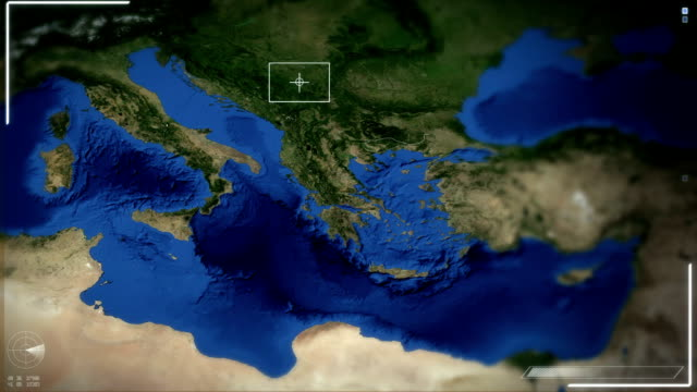 Futuristic Satellite Image View Of Athens video