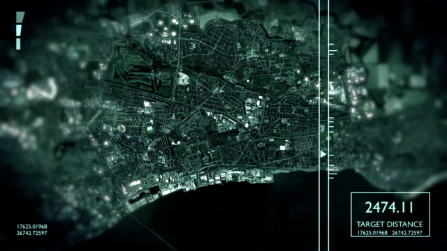 futuristic satellite image view of city - aerial map stock videos & royalty-free footage