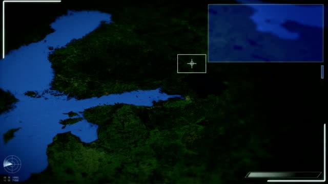 futuristico immagini satellitari vista di tallinn - estonia video stock e b–roll