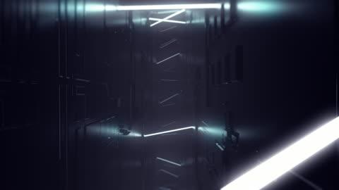 vídeos y material grabado en eventos de stock de futurista sci fi dark empty room con tubos de línea brillante de neón blanco en el suelo de hormigón grunge con reflejos animación de representación 3d - imagen en bucle