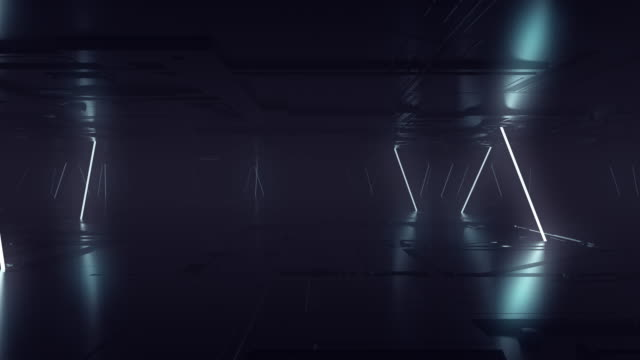 Futuristic Sci Fi Dark Empty Room With White Neon Glowing Line Tubes On Grunge Concrete Floor With Reflections 3D Rendering Animation Futuristic Sci Fi Dark Empty Room With White Neon Glowing Line Tubes On Grunge Concrete Floor With Reflections 3D Rendering Animation neon colored stock videos & royalty-free footage