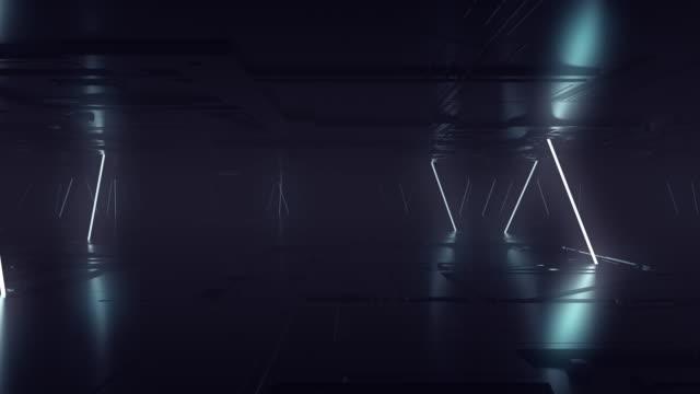 футуристический sci fi темная пустая комната с белыми неоновыми светящимися трубами линии на гранж бетонный пол с отражениями 3d рендеринг ан� - abstract architecture стоковые видео и кадры b-roll