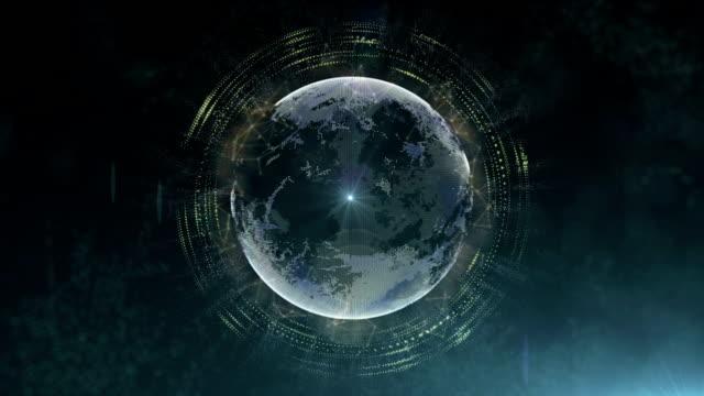Futuristic sci fi planet system video