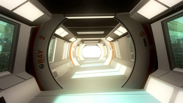 vídeos de stock, filmes e b-roll de futurista scifi corredor interno - poster