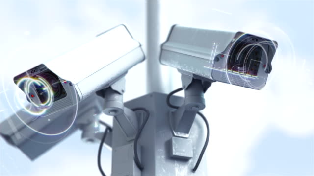 Futuristic security cameras against scanning the street in 4K video