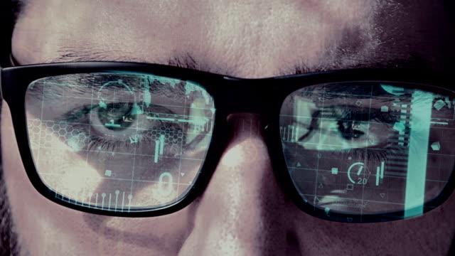 Futuristic smart glasses cyan video