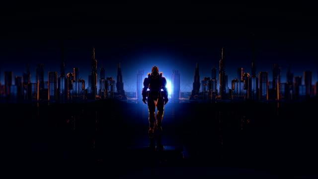 未来都市の背景に未来の兵士。 - 機械類点の映像素材/bロール
