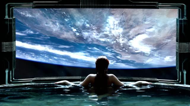 futuristic spa meditation. transcendence metaphor - сюрреалистический стоковые видео и кадры b-roll