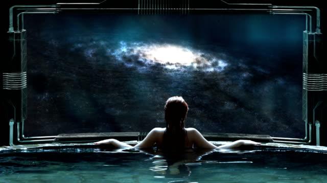 Futuristic SPA meditation. Transcendence metaphor