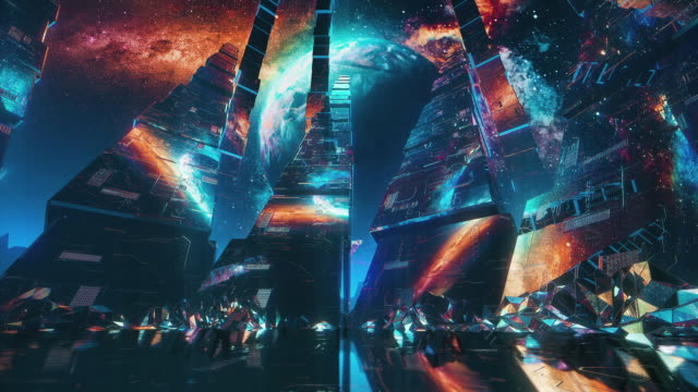 Futuristisk rymdscen. 80-talsstil video