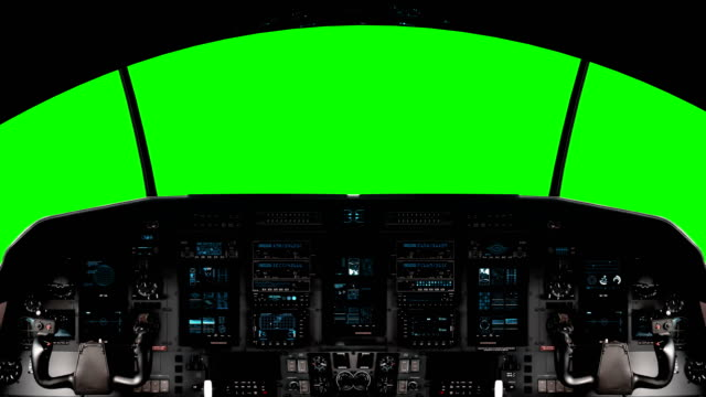 Futuristic Spaceship Cockpit On A Green Screen