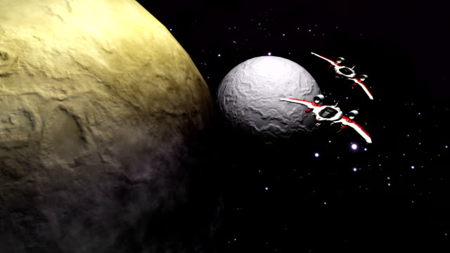 Futuristic spaceships flying above planet and moon video