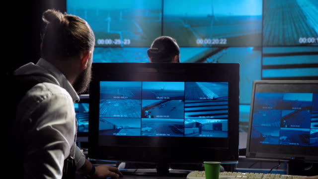 Futuristic special forces office surveillance team video