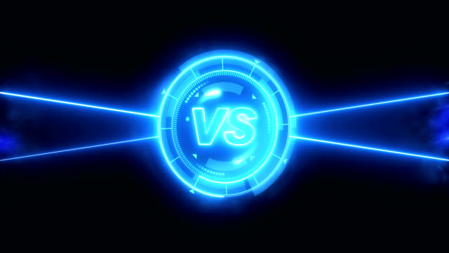 Futuristic sports game loop animation. Versus fight background. Radar neon digital display. VS. Game control interface element. Battle fight sports competition.